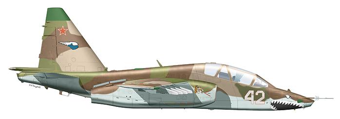 """Су-25УБ  """"борт 42 """" 960-го ШАП 1-й ШАД 4-й армии ВВС и ПВО, аэродром Приморск-Ахтарск, 1999 г."""