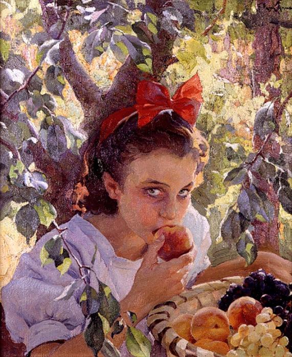 Francisco Pons Arnau (Spanish, 1886-1955Comiendo fruta (571x700, 526Kb)
