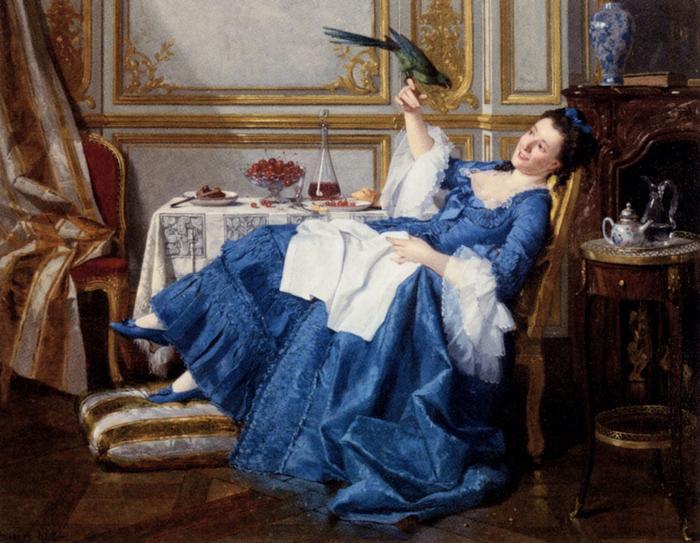 Charles Hue (1825-1883).the_favorite_bird (700x543, 439Kb)