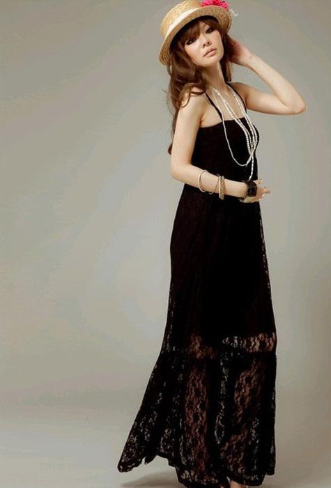 """Элегантное макси-платье  """"Кассандра """" из черного кружева."""