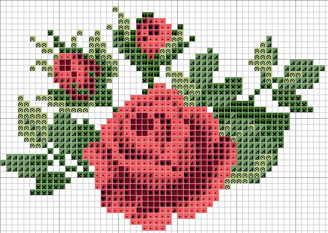 Вышивка крестом узор розы
