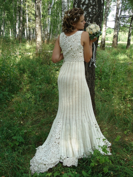 Вязанные свадебные платья крючком фото 2