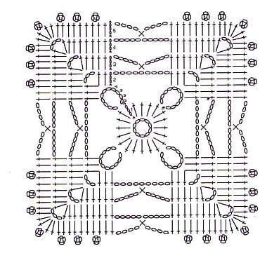 Здесь представлена подборка связанных крючком квадратных мотивов от простых до ажурных квадратов с подробными схемами...