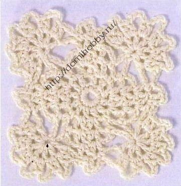 Выполненые крючком квадратные мотивы используются при вязании не только различной одежды, но и в вязании для дома...