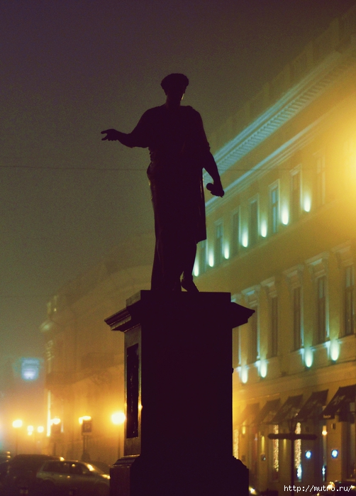 одесса в тумане, приморский бульвар, дюк
