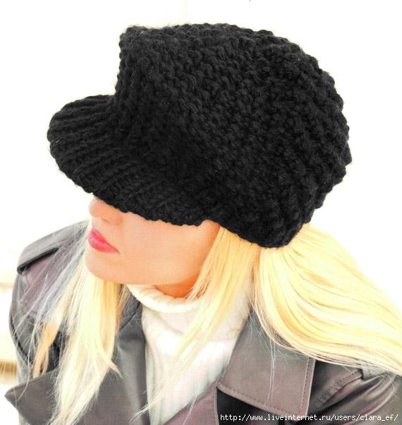 Связать кепку вы можете чулочными спицами из толстой шерстяной пряжи черного цвета.  Это...  Вязаная кепка.