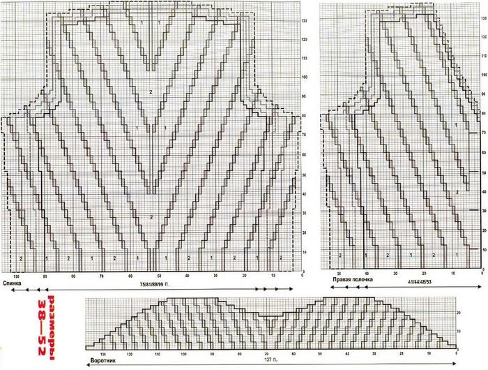 Схема вязания пиджака.