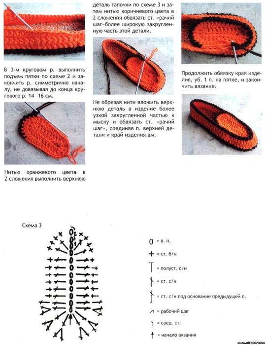 Вязаные домашние тапочки спицами схемы