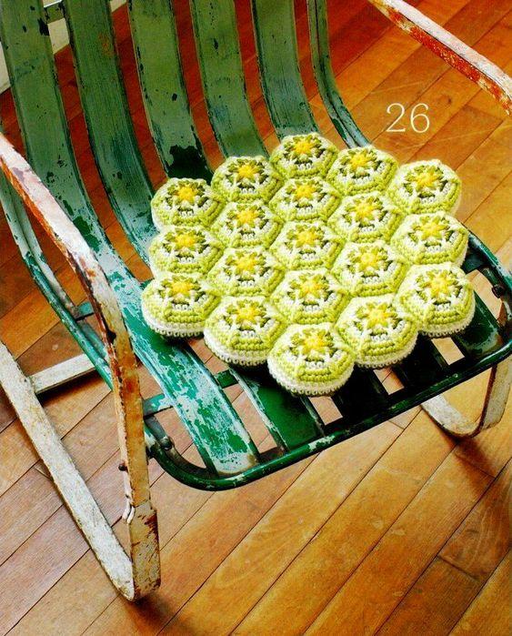 Вязание подстилки для стула 308