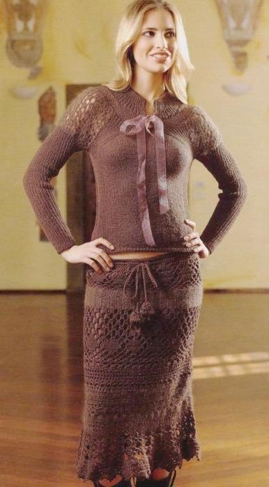 коричневая юбка крючком