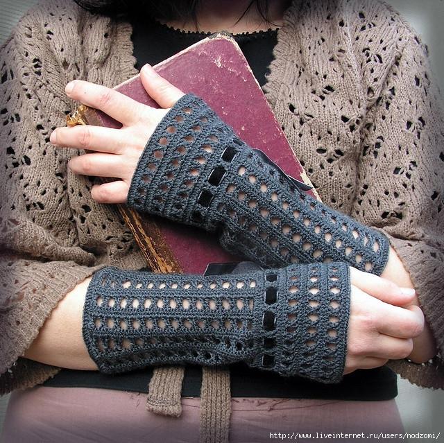Вязаные носки митенки