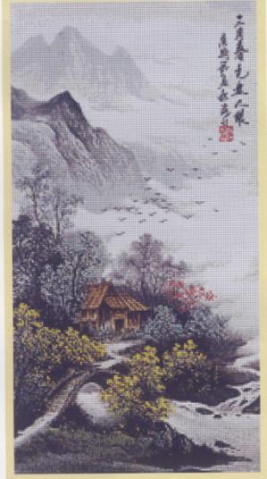 Япония. Вышивка крестом.