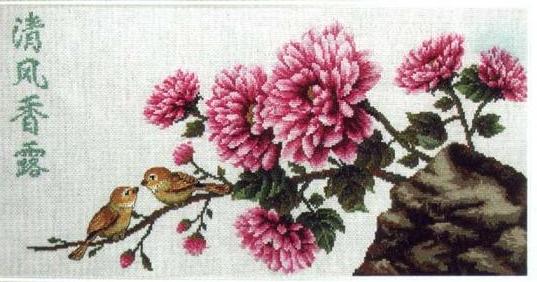 Хризантемы. Японская вышивка