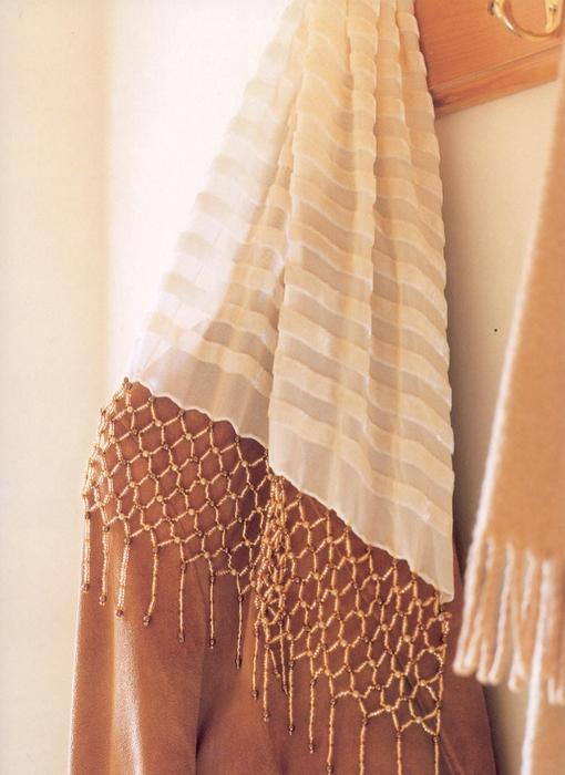 сетка из бисера. шарф с сеткой.