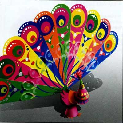 1. Собери и склей 10 перьев.  Можно декорировать аппликацией, а также сделать сквозной орнамент.  Жар-птица.