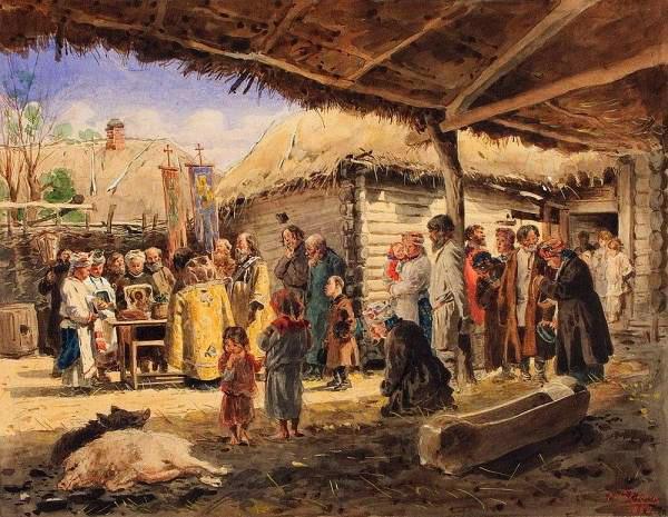 Молебен на крестьянском дворе в Малороссии 1886 (600x465, 100Kb)