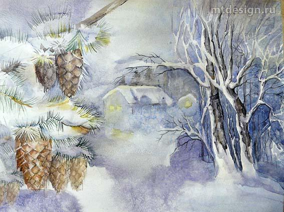 Картинки зимы нарисованные детьми карандашами цветными