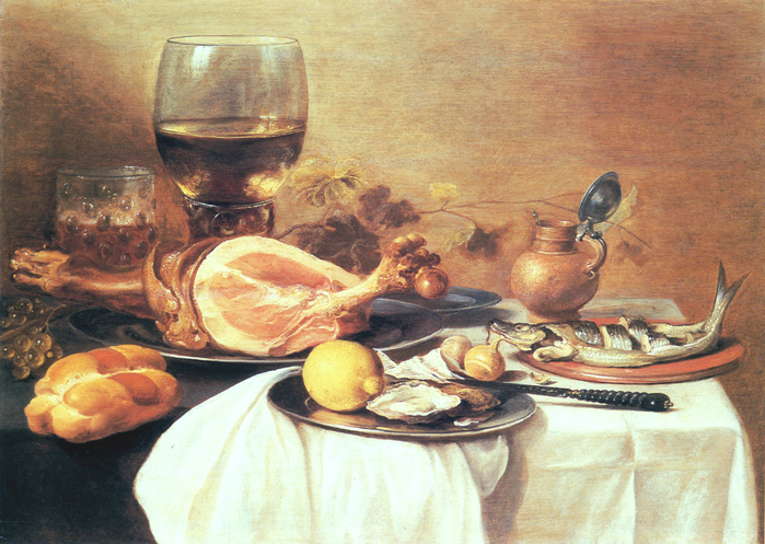 A Ham, a Herring, Oysters, a Lemon and a Roemer on a Table (700x497, 552Kb)