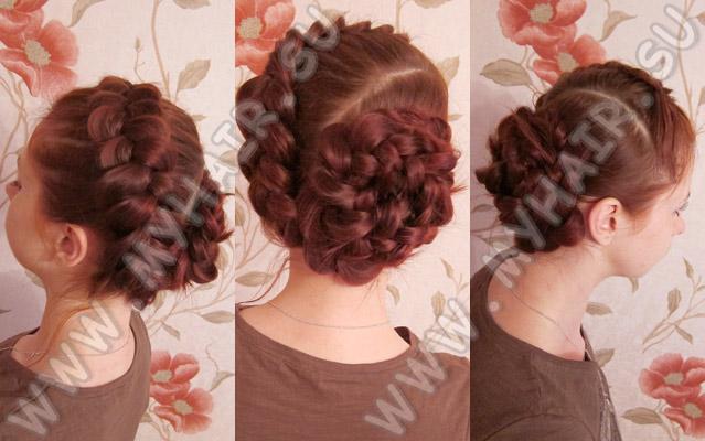 Плетение косы с цвета