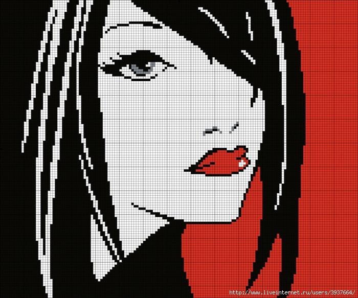 Вышивка чёрно белая крестом лицо девушки 1