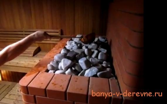 Печь для бани с открытой каменкой из кирпича
