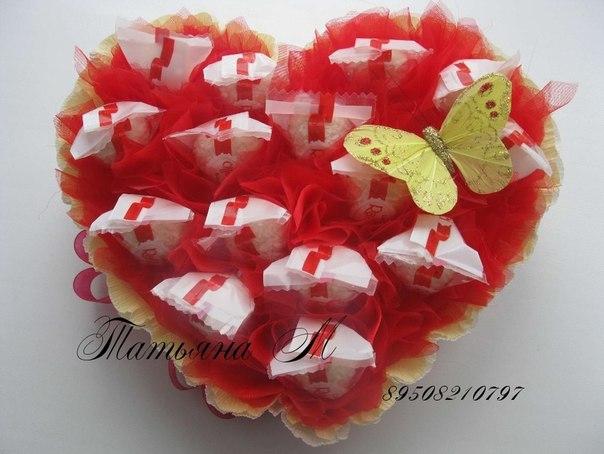 Букеты к 14 февраля из конфет своими руками