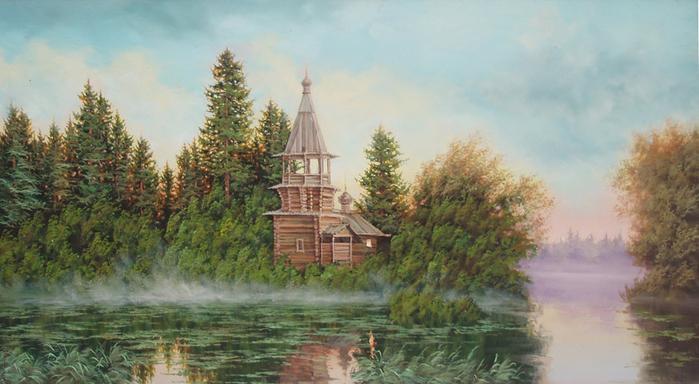 2. Стрелков Александр. Таежная церковь (700x384, 314Kb)