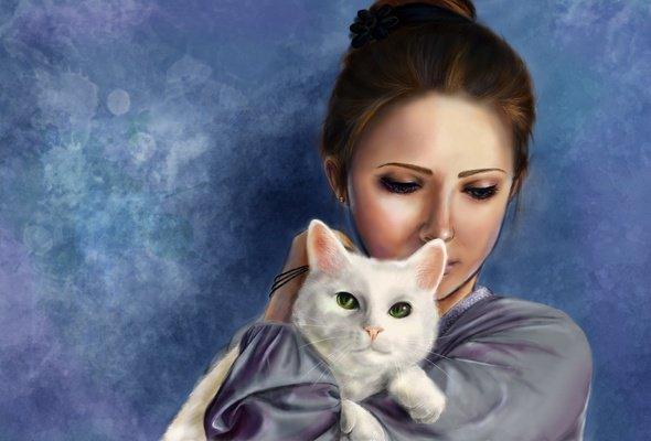 Девушка и кошка-1 (590x400, 36Kb)