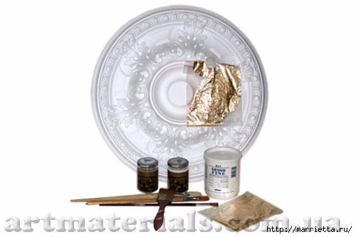 Потолочная розетка - золочение и создание эффекта патины (2) (500x333, 59Kb)