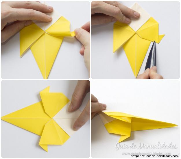 Как сложить ПТИЧКУ в технике оригами (7) (626x550, 151Kb)