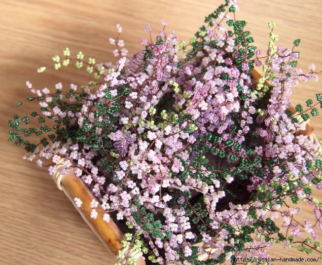 Корзинка с цветами ВЕРЕСКА ИЗ БИСЕРА (11) (635x523, 260Kb)