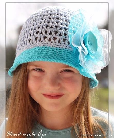 Летняя шляпка крючком для девочки (1) (444x539, 161Kb)