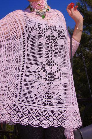 Туника бохо филейным вязание