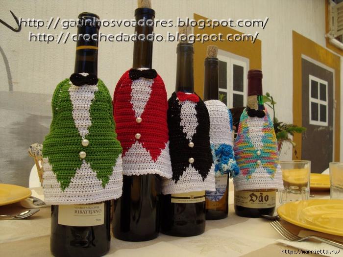Жилетка крючком - одежка для бутылки (2) (700x525, 309Kb)