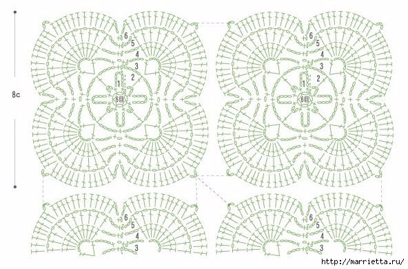 Весенняя салфетка крючком. Схема (3) (592x391, 207Kb)