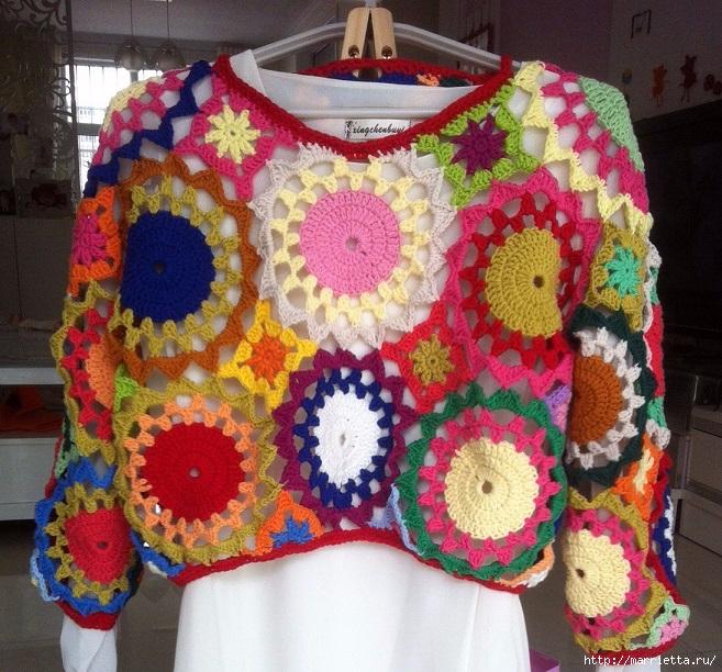 Летний яркий пуловер крючком из мотитвов (3) (657x612, 371Kb)