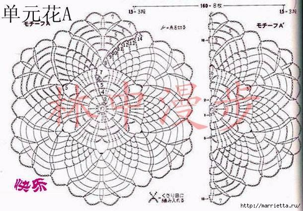 Летняя блуза крючком из мотивов (2) (610x426, 204Kb)