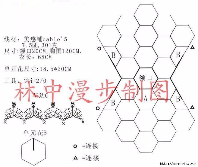 Летняя блуза крючком из мотивов (4) (657x556, 151Kb)