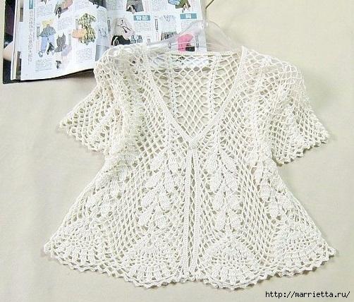 Ажурная летняя блуза крючком (4) (502x428, 193Kb)