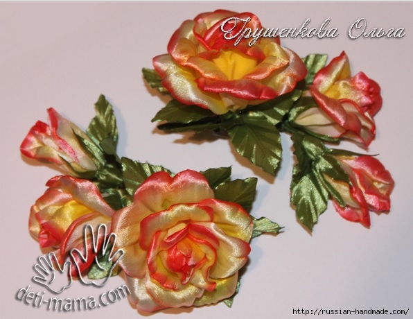 Цветы из атласных лент. Окрашивание акриловыми красками (596x460, 164Kb)