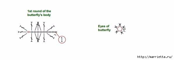 Стрекоза и бабочка крючком. Схемы (2) (595x207, 22Kb)