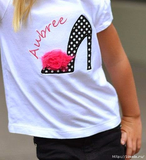 Аппликация на футболке из ткани