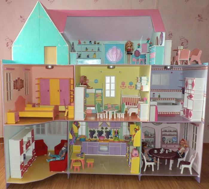 Как сделать дом для кукол своими руками на видео