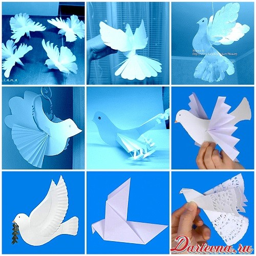 Объемный голубь из бумаги шаблоны