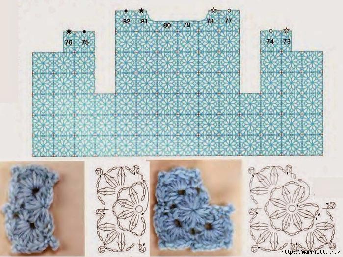 Цветочный жакет для девочки из круглых мотивов крючком (3) (700x525, 336Kb)