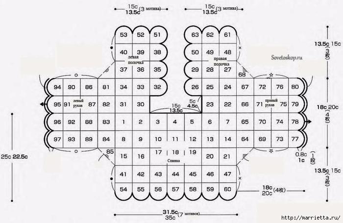 Цветочный жакет для девочки из круглых мотивов крючком (5) (700x455, 179Kb)
