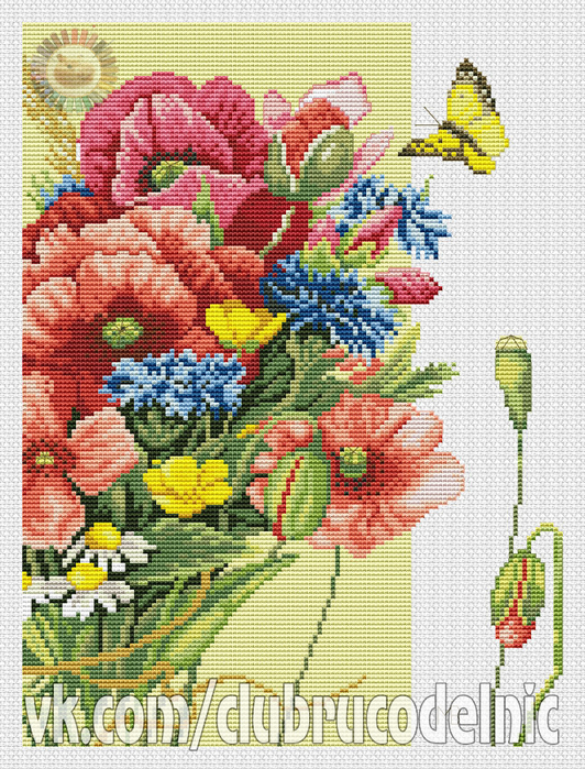 Poppies with Butterfly (532x700, 597Kb)