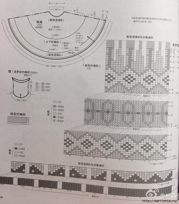Жаккардовое пончо спицами (2) (615x700, 317Kb)