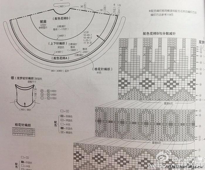 Жаккардовое пончо спицами (4) (700x581, 338Kb)