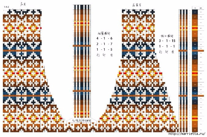 Жаккардовый жилет спицами. Схема (1) (677x449, 290Kb)